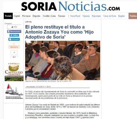 Reposición del título de hijo adoptivo de Soria en el diario de noticias de Soria del 10 de diciembre de 2015.